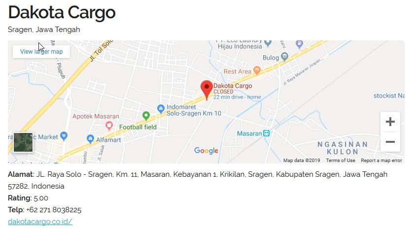 map dacota sragen